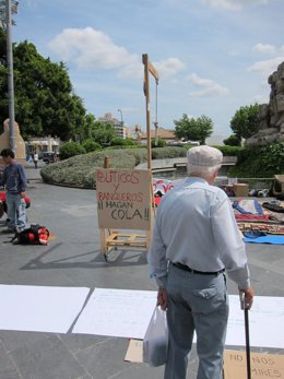 Imagen de la horca colocada en Plaza España