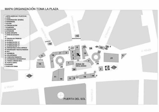 Mapa Puerta Del Sol.15m Los Acampados En La Puerta Del Sol Amplian Y Dan Una