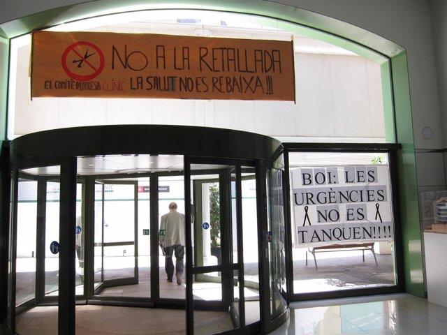 Proteste Contra Los Recortes Sanitarios En El Clínic De Barcelona
