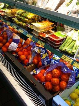 Alimentos en un supermercado