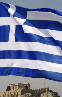 Bandera De Grecia Con El Partenón De Fondo