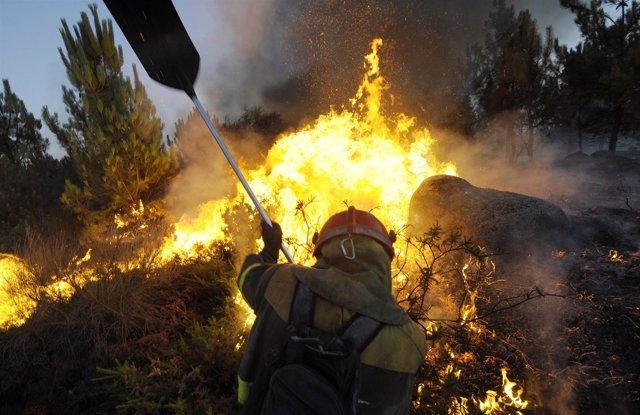 Incendio forestal en Galicia