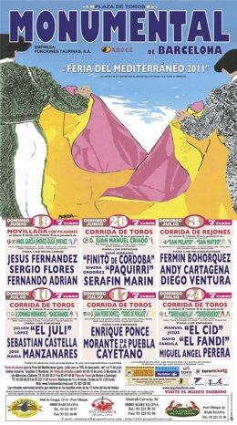 Cartel De Toros De La Monumental, Feria Del Mediterráneo 2011