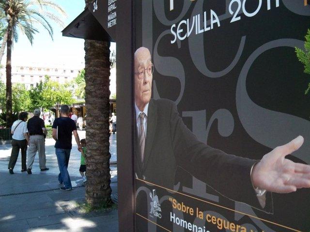 Cartel Homenaje A José Saramago En La Feria Del Libro De Sevilla