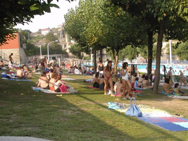 Césped de una piscina llena de bañistas