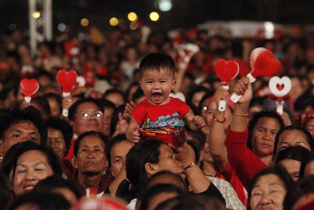Partidarios De Los Camisas Rojas En Tailandia