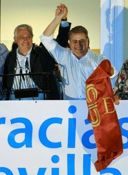 Juan Ignacio Zoido, Junto A Javier Arenas, La Noche Del Triunfo Electoral