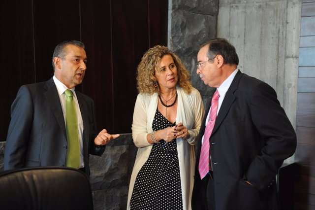 Paulino Rivero, María del Mar Julios y Domingo Berriel