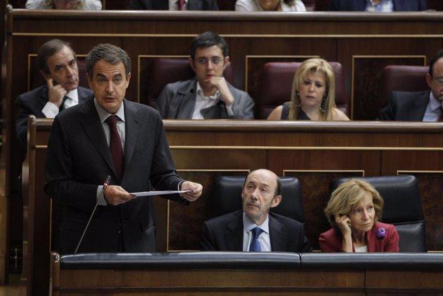 Zapatero Con Rubalcaba Y Salgado En El Pleno Del Congreso