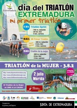 Cartel Del Día Del Triatlón En Extremadura