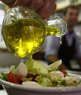 Ensalada, aceite, alimentación, sano