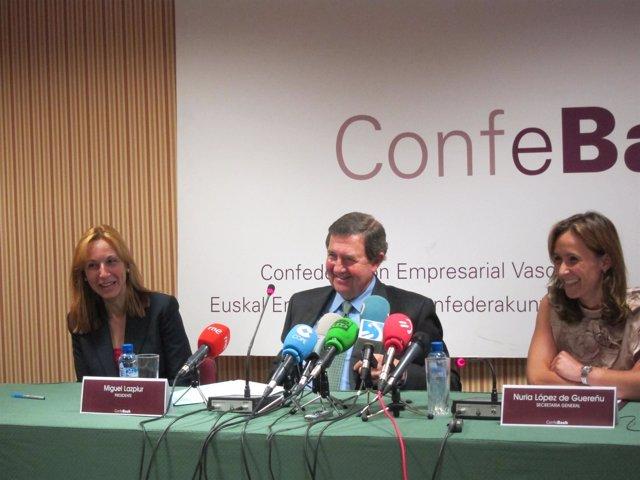 Miguel Lazpiur, Junto A Responsables De Confebask