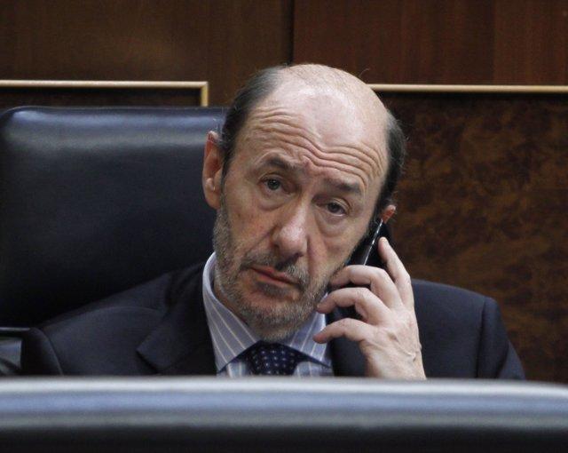 Alfredo Pérez Rubalcaba, En El Banco Azul Del Congreso