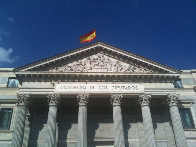 Fachada del Congreso con bandera