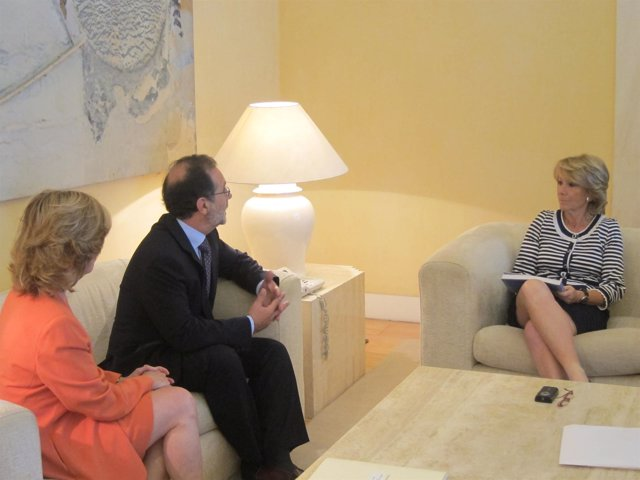 Plañiol, Vieira Y Aguirre Durante La Reunión De Entrega De La Memoria Del TSJM