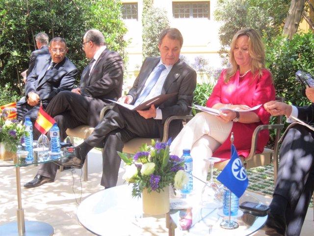 Youssef Amrani (Upm), El Ministro Marroquí Taïb Fassi Fihri, A.Mas Y T.Jiménez