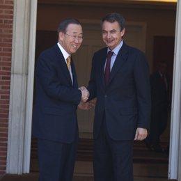 Zapatero recibe a Ban Ki Moon en Moncloa