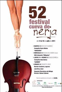 Cartel De La 52 Edición Del Festival De La Cueva De Nerja