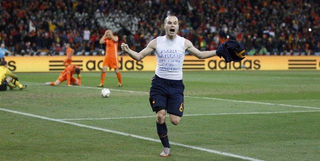 Iniesta celebra el gol en la final del Mundial