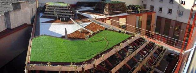 Cubierta Vegetal En Un Edificio De Madrid