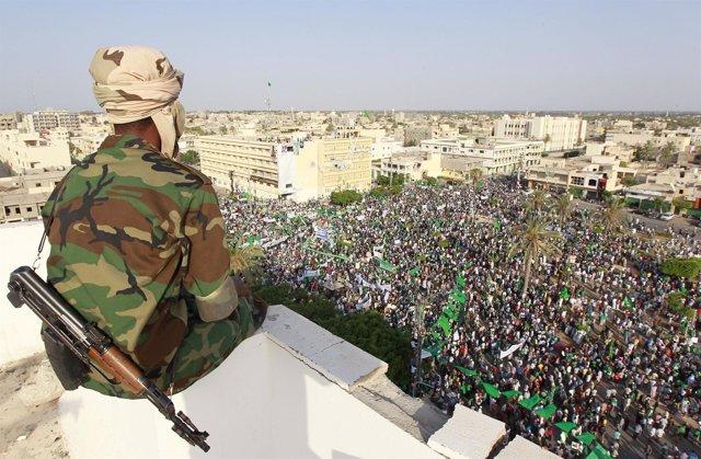 Manifestación A Favor De Gadafi En Zawiyah