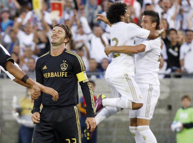 Cristiano Ronaldo, Marcelo Y Beckham, Real Madrid Contra Los Angeles Galaxy