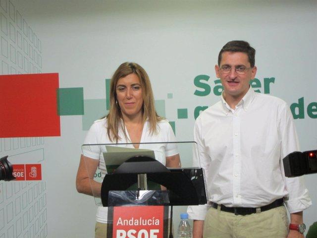Díaz Junto Al Nuevo Secretario General Del PSOE De Almería, José Luis Sánchez
