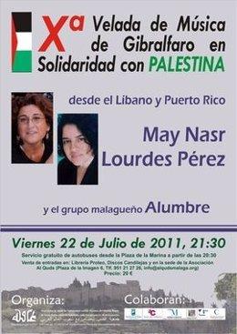 Cartel De La X Velada De Música De Gibralfaro En Solidaridad Con Palestina