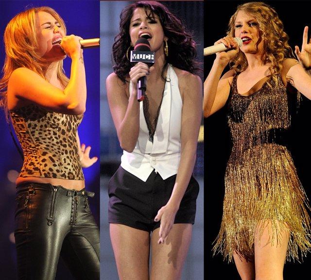 Montaje De Miley Cyrus, Selena Gomez Y Taylor Swift Sobre Los Escenarios
