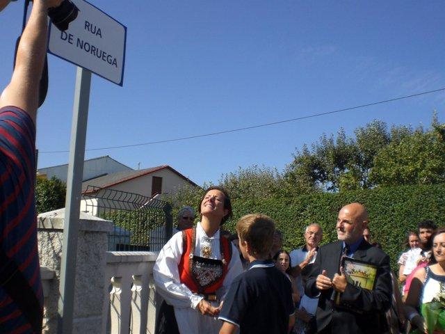Inauguración De Una Calle Dedicada A Noruega En Ares (A Coruña).
