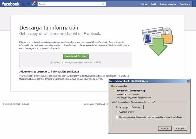 Descarga De Datos En Facebook