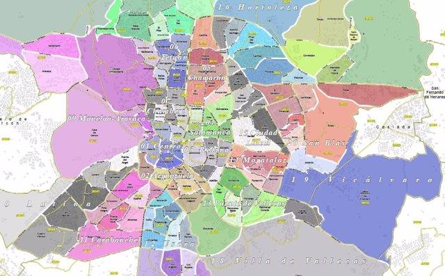Mapa Comunidad De Madrid Por Codigos Postales.Un Nuevo Plano Callejero Actualiza Los Distritos Y Barrios