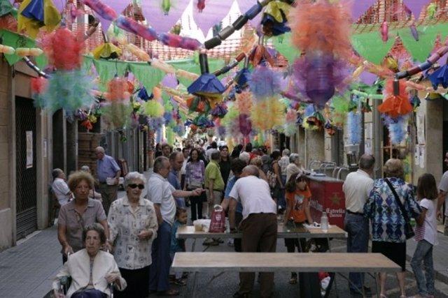 Carrer Providència Decorado Durante Las Festes De Gràcia