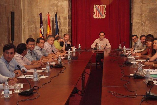 Reunión Bauza Con Sectores Huelga Transporte el pasado viernes