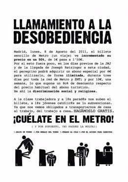 Cartel Para Colarse En El Metro Del 15M