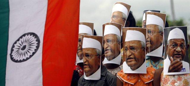 Partidarios Del Activista Indio Anna Hazare