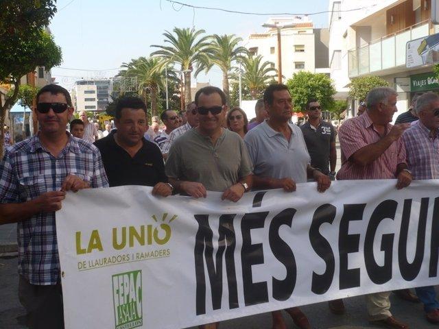 Momento De La Protesta Contra Los Robos En Los Campos En Benicarló