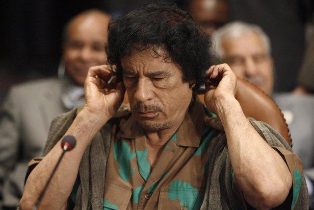 El líder libio, Muamar Gadafi