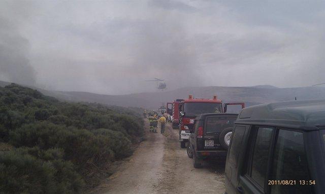Medios Terrestres Que Trabajan En El Incendio De Navalacruz (Ávila)