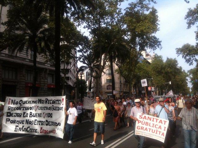 Manifestación En Barcelona Contra Los Recortes En Sanidad