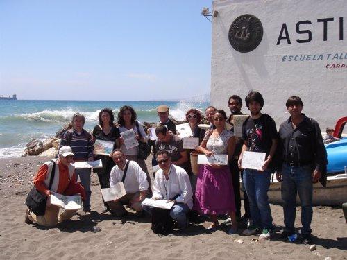 Grupo de Dibujantes de Urban Sketchers, tras un encuentro en Málaga