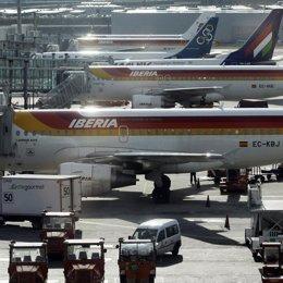 Aviones de aerolínea Iberia
