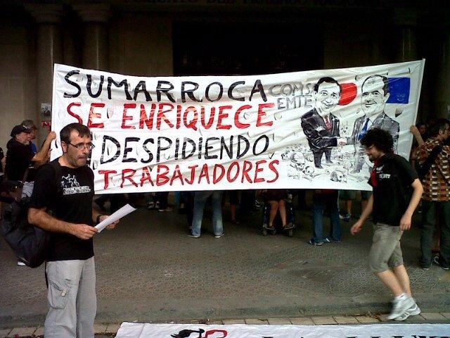 Manifestación De CGT Ante Fomento Del Trabajo En Barcelona