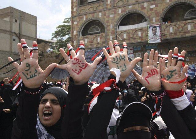 Manifestación Contra Salé En Yemen