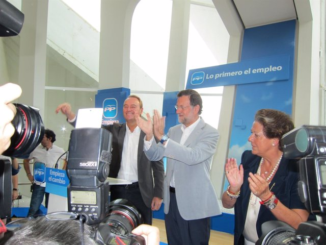 Fabra, Rajoy Y Barberá, Antes De Dar Sus Discursos