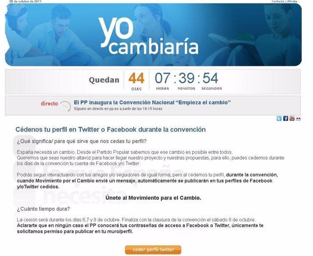 Página Web Del Partido Popular Para Ceder El Perfil De Twitter O Facebook
