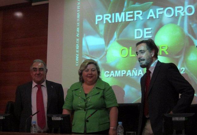 Roque Lara, Clara Aguilera Y Felipe López En La Presentación Del Primer Aforo.