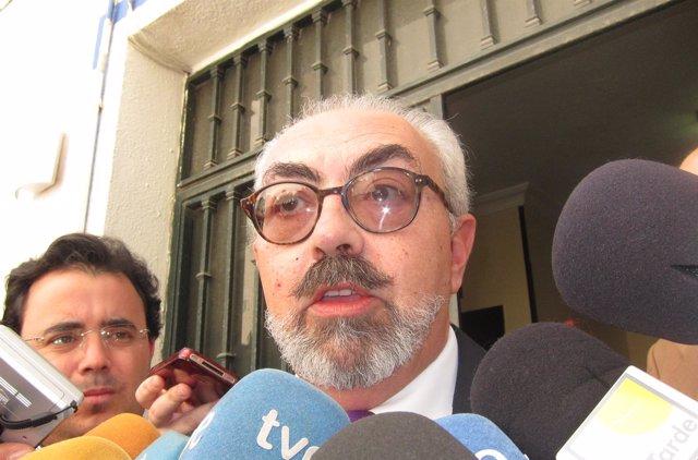 El abogado de Rosa del Valle, Manuel Domínguez, ante los medios.