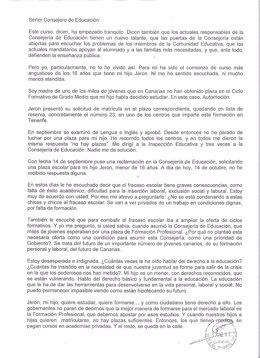 La Carta Que La Madre Indignada Por La FP Ha Mandado A José Miguel Pérez