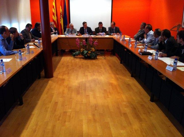 Reunión De Oliván Con Presidentes De Comarca Y Alcaldes En Binéfar